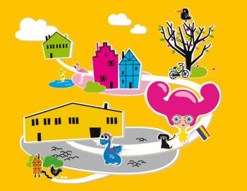 Illustration över SIPs verksamhet. Färglada människor och djur är tillsammans på väg till SIPhuset.